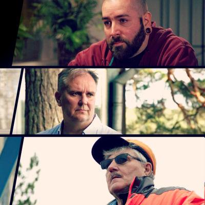 Miehiä ja poikia -elokuvan päähenkilöitä ja Docventures-logo