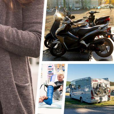 Bildkollage med en gravid kvinna, mopeder, en husvagn och en pojke med gipsat ben.