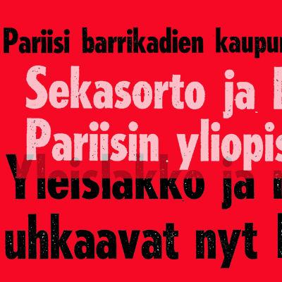 Helsingin Sanomien otsikoita toukokullta 1968 (kuva käsitelty).