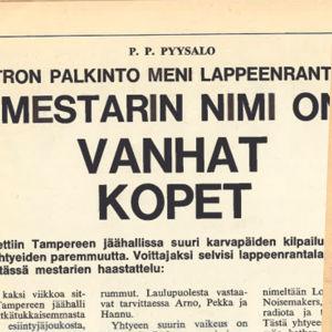 Intro.lehden artikkeli Kopet-yhtyeestä (1968) ja Stump-lehden bändiäänestys (1969).