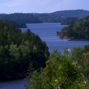 Vy över LInnansaari nationalpark
