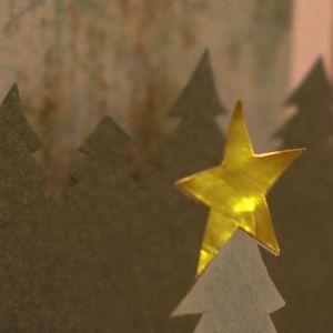 Julkort med glänsande stjärna.