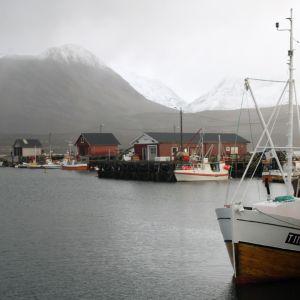 Hamnen vid Lyngen Rekers fabrik i Nordnorge