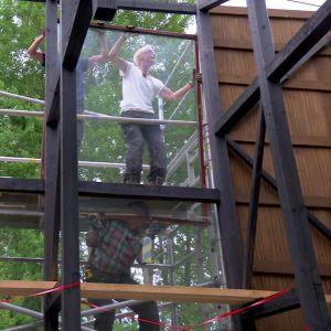 Baksidan av växthuset blir hela 12 m2 glas med fyra stora fönster