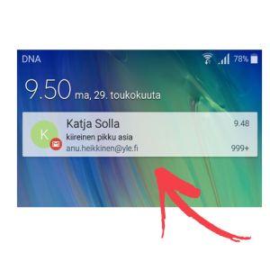 Skärmdump från en Samsung A5 telefon på meddelande-inställningar.