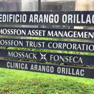 Mossack Fonsecan toimistokyltti Panama Cityssä.