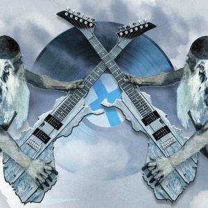 Piirretty Väinämöinen soittaa kitaraa