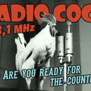 Keksityn radioaseman, Radio Cockin, mainos, kuvassa kukko ja tekstiä.