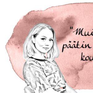 """Kuvassa Sonja Tyrväinen: """"Muistan kun päätin etten mene kouluun."""""""