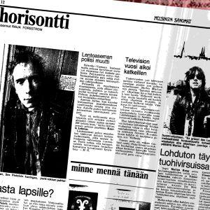 Punk-graafi Helsingin sanomien sivusta, jossa kerrotaan Sex Pistols yhtyeestä otsikolla Parasta lapsille? (3.1.1978)