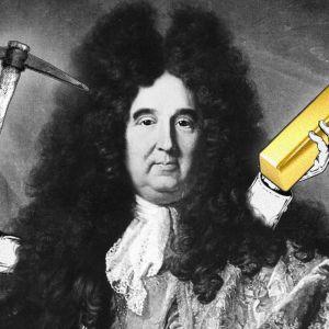 Maalus Isaac Newtonista, johon on lisätty hakku ja kultaharkko