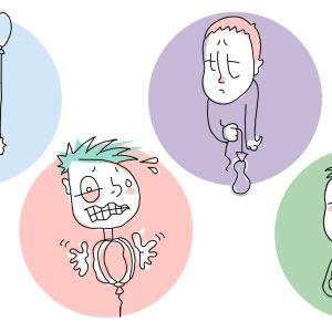 Animaatiohahmoissa innostunut, stressaantunut, kyyninen ja uupunut opiskelija.