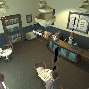 Kuva yläkulmasta Salakapakka-pelin ravintolaan