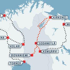 Ishavsbanan föreslås sträcka sig från Rovaniemi till Kirkenes.