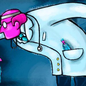 Tecknad läkare trycker ner kollegor.