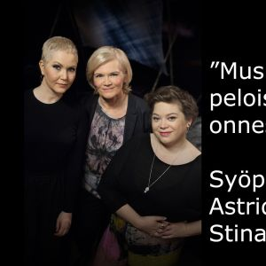 Syöpäkaverit Stina Koistinen ja Astrid Swan vieraina tv-ohjelmassa Flinkkilä & Tastula.