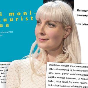 Laura Huhtasaari med pärmbilder och textstycken från sin egen och Tiina Simpanens gradu.