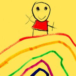 Lapsen piirtämä ihmishahmo sateenkaaren päällä.
