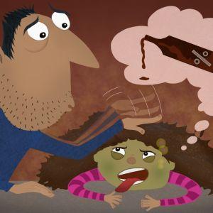 En förälder tröstar ett barn som lider av bakfylla.