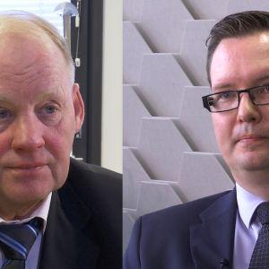 Emeritusprofessori Matti Virén ja verohallinnon yritysverotusyksikön valvontajohtaja Marko Myllyniemi.