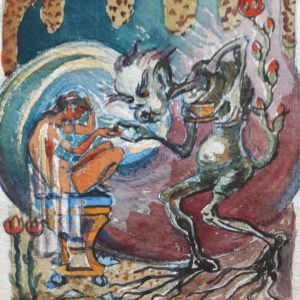 """""""Älvan och de fyra andarna"""", Keiju ja neljä henkiolentoa oli Tuva Korsströmin isän, kuvataiteilija Torsten Korsströmin omatekoinen kirjalahja tyttärelleen tämän 4-vuotissyntymäpäivänä."""