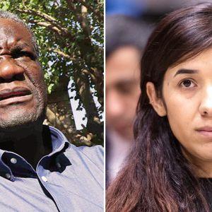 Vinnarna av Nobels fredspris 2018, aktivisten Nadia Murad och gynekologen Denis Mukwege.