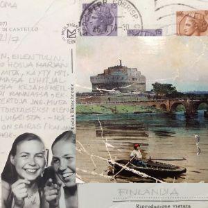 Leena Taavitsainen ystävättärensä Marja Laitisen kanssa lähetti kortin kotiin interrail-matkalta v. 1973. Kortin kuvassa on Castel Sant'Angelo Roomassa.