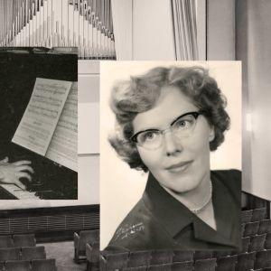 Meri soittaa pianoa. Taustalla Sibelius-Akatemian konserttisali.