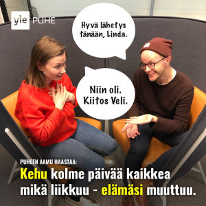 Kuvassa Puheen Aamun juontajat Linda Vettanen ja Veli Kauppinen.
