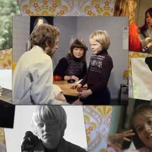 Kollaasi kuvista 1970- ja 1980-luvun lastenohjelmista, kuten Villahousupakko, Vinski ja Vinsetti sekä Lintutyttö. Kuvien taustalla 1970-luvun tapetti.