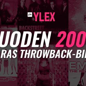 """Kuvassa vuoden 2000 suosituimpia albumeita ja teksti """"Vuoden 2000 paras Throwback biisi"""""""