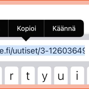 Kuvassa näytetään miten tekstiä kopioidaan kännykän ruudulta