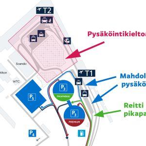 Liikenne- ja pysäköintijärjestelyt matkustajille tammikuusta 2019 alkaen maalis-huhtikuuhun saakka.