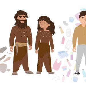 kivikauden ihminen ja nykyihminen ja heidän esinemaailmansa