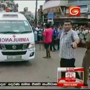 Ambulans för skadade till sjukhus i Colombo.