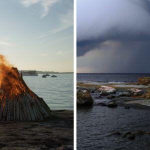 en bild av en midsommarbrasa och en bild av stormskyar