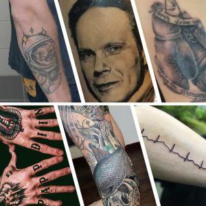 Kollage över tio olika tatueringar.