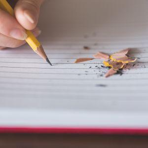 Käsi kirjoittaa vihkoon