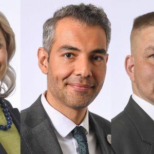 Riksdagsledamöterna Päivi Räsänen, Hussein al-Taee och Juha Mäenpää.
