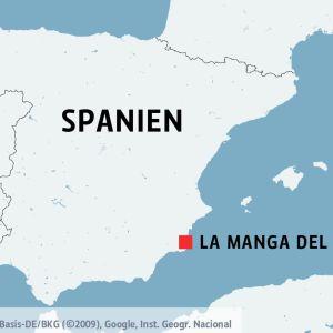 Orten La Manga del Mar Menor i Spanien på en karta.