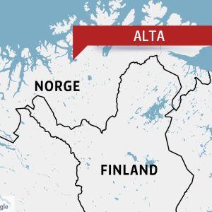 Alta i Nord-Norge på en karta.