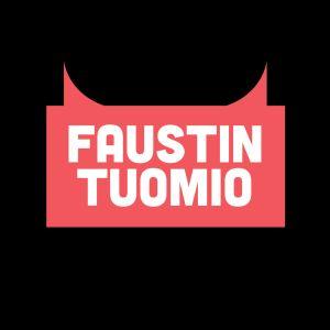 Faustin tuomion punainen tekstilogo mustalla pohjalla
