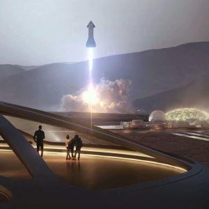 Piirros Starshipistä nousemassa Marsista. Ihmiset katsovat sitä aseman sisältä.