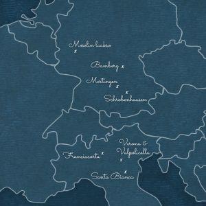 graafinen kartta Euroopan paikoista, joissa Ella Kannista vieraili Ellan matkassa -ohjelman 2. kaudella.