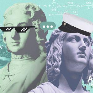 Abitreenien banneri, josa kollaasissa patsaiden päitä, yo-lakki, nopeet lasit, puhekuplia, karkkeja, laakerinlehtiä, läppäri, kahvikuppi ja matematiikan kaavoja