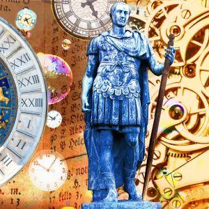 Ajan kummallinen historia pääkuva jossa erilaisia ajan symboleja