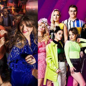 Bildkollage bestående av bild på programledarna i Melodifestivalen och artisterna i årets UMK
