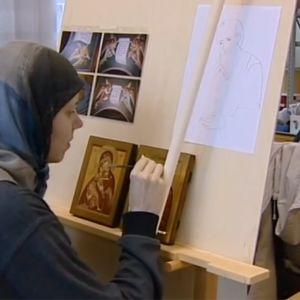 Ikonimaalausta Lintulan luostarissa.