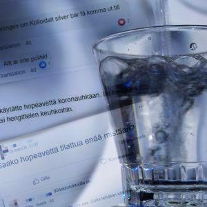 Kolloidalt silver hälls i ett glas, i bakgrunden utdrag ur facebookgrupper där folk letar efter produkten och uppmanar varandra att testa.
