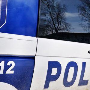 Poliisiauto, jonka ikkunasta heijastuu puita.